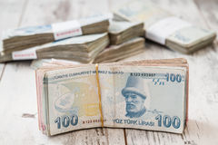 Bunch of Turkish Lira Royalty Free Stock Photography