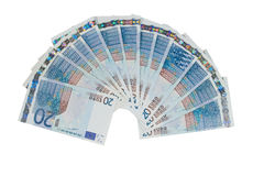 Bunch of twenty euro bills. (isolated on white Stock Images