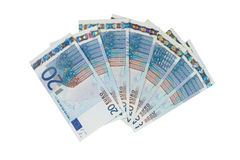 Bunch of twenty euro bills. (isolated on white Stock Photo