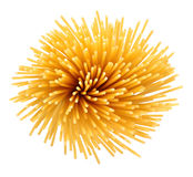 Bunch of uncooked Italian pasta spaghetti on a white Stock Image