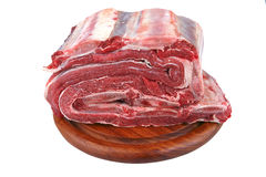 Bunch of uncooked meat on wood Stock Photo