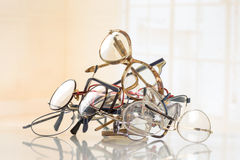 Bunch of unneeded glasses to recycle to Third World. Bunch of unneeded glasses for donation to Third World stock image