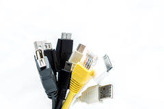 A bunch of USB plugs isolated on a white backgroun Stock Image