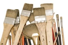Isolated Used Paint Brushes Stock Photo