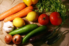 Bunch Of Vegetable & Fruits. Bunch of vegetable & fruits on paper background Royalty Free Stock Photography