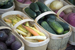 Bunch of Vegtables in Baskets Stock Photography