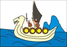 Bunch of vikings in a viking boat. Bunch vikings boat ship vessel shield sword nordic scandinavian sea ocean water wood glacier Royalty Free Stock Images