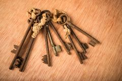 Bunch of old keys. Bunch of vintage oxidized keys with a strong patina Royalty Free Stock Photography