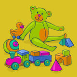 Bunch of vintage toys. Bunch of colorful, cute, classic kids toys - teddy bear, duck on wheels, building blocks, ball and wooden train Stock Images