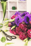 Bunch of  violet and mauve  eustoma flowers Royalty Free Stock Image