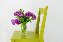 Bunch of violet tulips in the glass. Violet tulips in the vase on the green chair Stock Photos