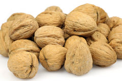 Bunch of walnuts. On a white background Royalty Free Stock Image