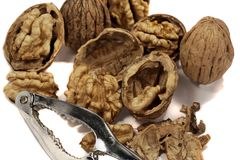 Bunch of walnuts. Close view detail of some walnuts isolated on a white background Stock Image
