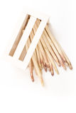 Bunch of white asparagus spears in a box, on white. Background Stock Photography