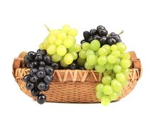 Bunch of white and black grapes in a basket. Stock Photos