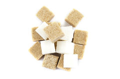 Bunch of lump sugar on a white background Royalty Free Stock Image