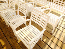 Bunch of white chairs Royalty Free Stock Image