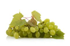 Bunch of white grapes isolated on white with leaf Royalty Free Stock Image