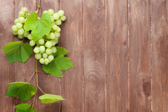 Bunch of white grapes with leaves Stock Photos