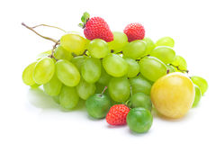 Bunch of white grapes,plum and strawberries Royalty Free Stock Photography