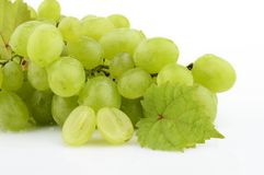 Bunch of white grapes on white with vine leaves branch Stock Images