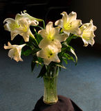 A bunch of white lilies. In  glass vase Royalty Free Stock Image
