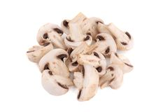 Bunch of white mushrooms close up. Royalty Free Stock Image