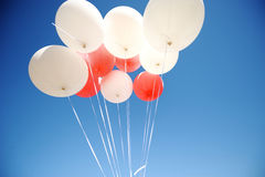 Bunch of white and red balloons Royalty Free Stock Photo