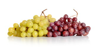 Bunch of white and red grapes. Isolated on white Stock Image