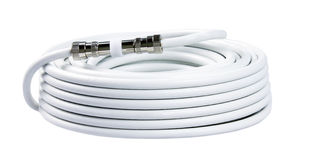 Bunch of white TV cables with connectors  Stock Photos