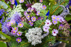 Bunch of wildflowers in bucket Stock Photography