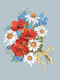 Bunch of wildflowers vector illustration