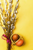 Bunch of willow branches and Easter eggs in basket Royalty Free Stock Images