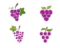 Bunch of wine grapes with leaf icon royalty free illustration