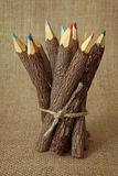 Bunch of wooden color pencils Royalty Free Stock Images
