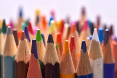 Bunch of wooden colored pencils Royalty Free Stock Images