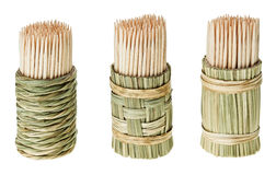Bunch of wooden toothpick in round holder Royalty Free Stock Photography