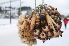 A bunch of wooden trinkets and pendants Stock Photography