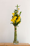 Bunch of yellow callas in the vase Royalty Free Stock Photo