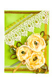 Bunch of yellow flowers. Postcard with bunch of yellow flowers Royalty Free Stock Photos