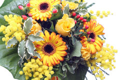 Bunch of yellow flowers and mimosa Royalty Free Stock Image