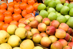 A bunch of yellow and green apples on the table in the market. Novi Sad, Serbia Royalty Free Stock Photos