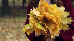 Bunch of yellow leaves in the hands of women. Autumn park. Bunch of yellow leaves in the hands of women. Autumn, park. colorful fall season. colorful fall stock video