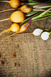 Radish on wooden background. Bunch of yellow radish on wooden background, fresh harvest, green vegetables Royalty Free Stock Photo