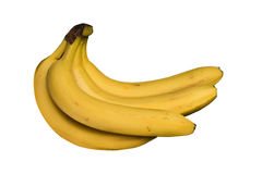 Bunch of yellow, ripe bananas isolated Stock Images