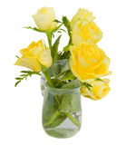 Bunch of yellow roses. In transparent pots   isolated on white background Stock Images