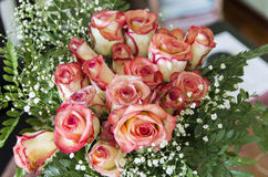 Bunch of yellow roses edged with red in the composition of green. Floral arrangement of yellow roses edged with red and green leaves top view and a withered bud Stock Image