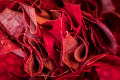 Bunched Edges of Red Fabric. In close up shot royalty free stock images