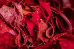 Bunched krawędzie Czerwona tkanina Obrazy Royalty Free