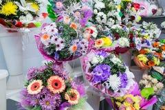 bunches of big fresh orange pink red gerbera chamomile and big white yellow blue chrysanthemum flower Stock Photography